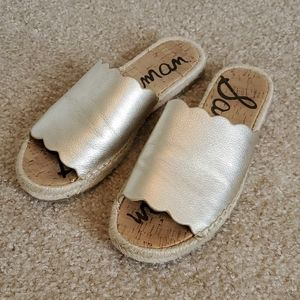 Sam Edelman gold leather Andy slides size 7.5 euc